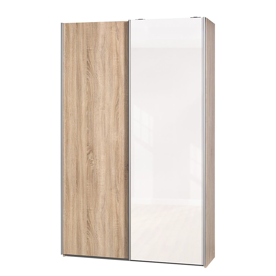 Schwebetürenschrank Soft Smart I – Eiche Dekor/Hochglanz Weiß – Breite: 120 cm / Tiefe: 42 cm, CS Schmal jetzt bestellen