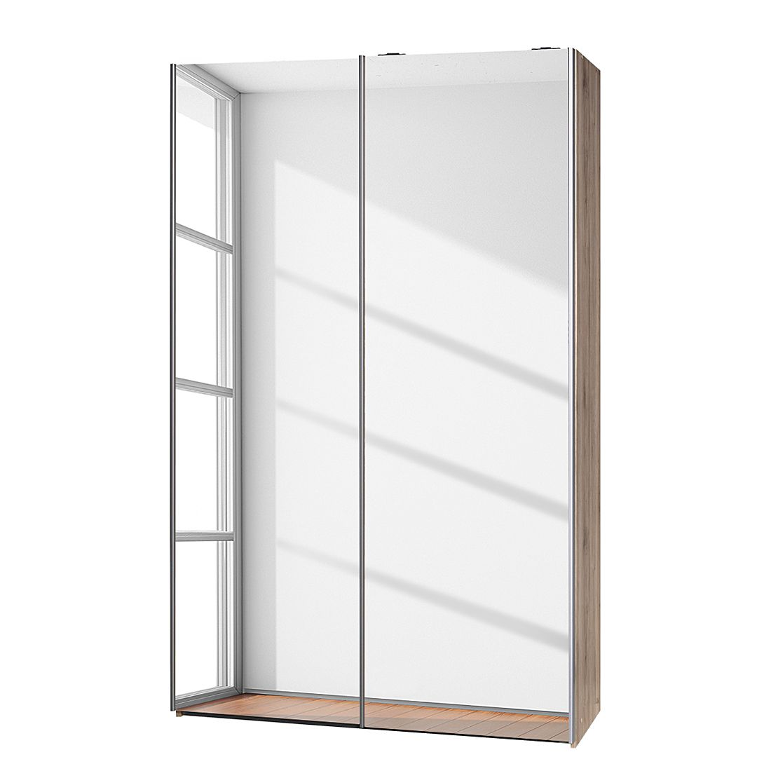 Schwebetürenschrank Soft Smart I – Eiche Sanremo Dekor/Spiegeltüren – Breite: 120 cm / Tiefe: 42 cm, CS Schmal günstig online kaufen