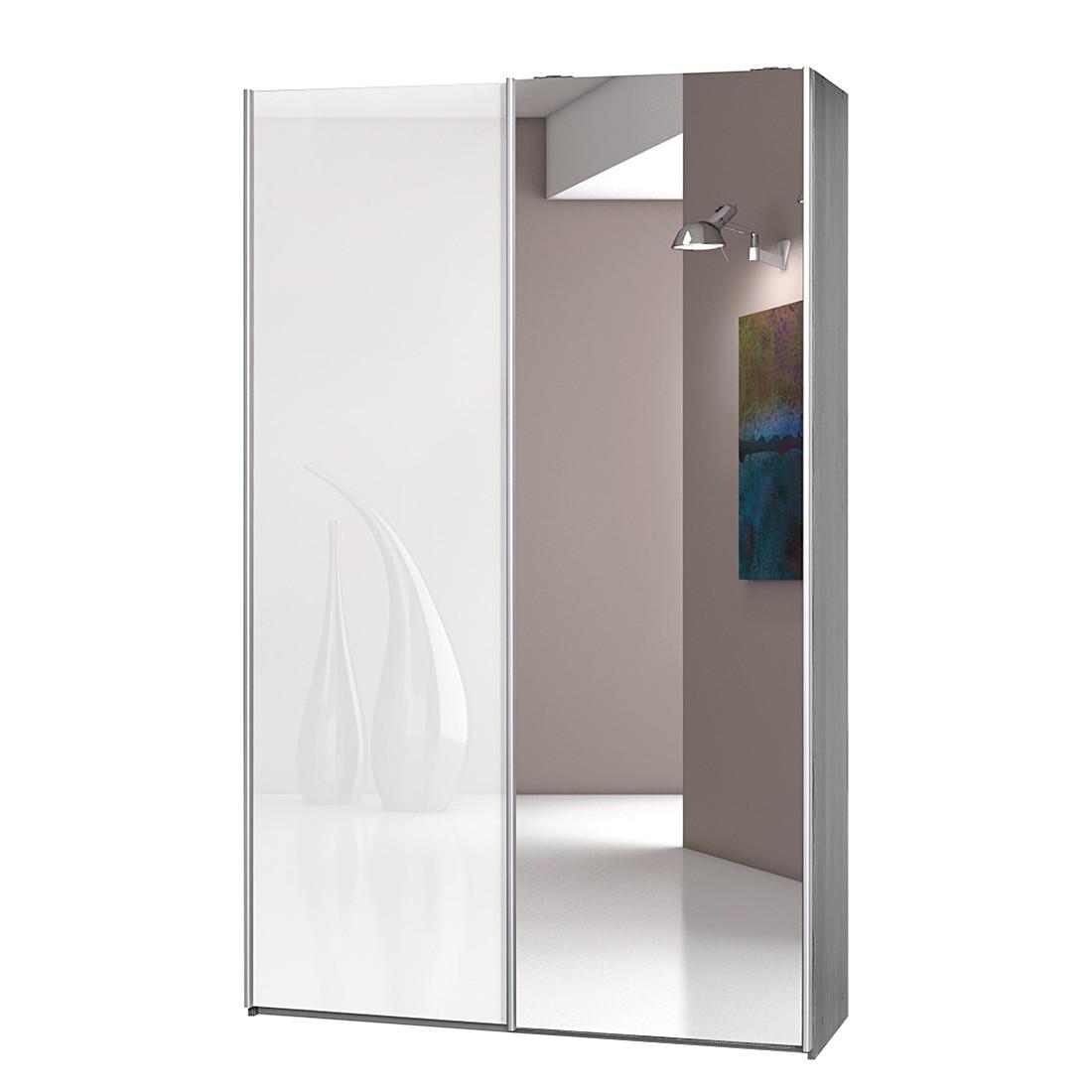 Schwebetürenschrank Soft Smart I – Silbereiche Dekor/Hochglanz Weiß/Spiegeltür – Breite: 120 cm / Tiefe: 42 cm, CS Schmal günstig kaufen