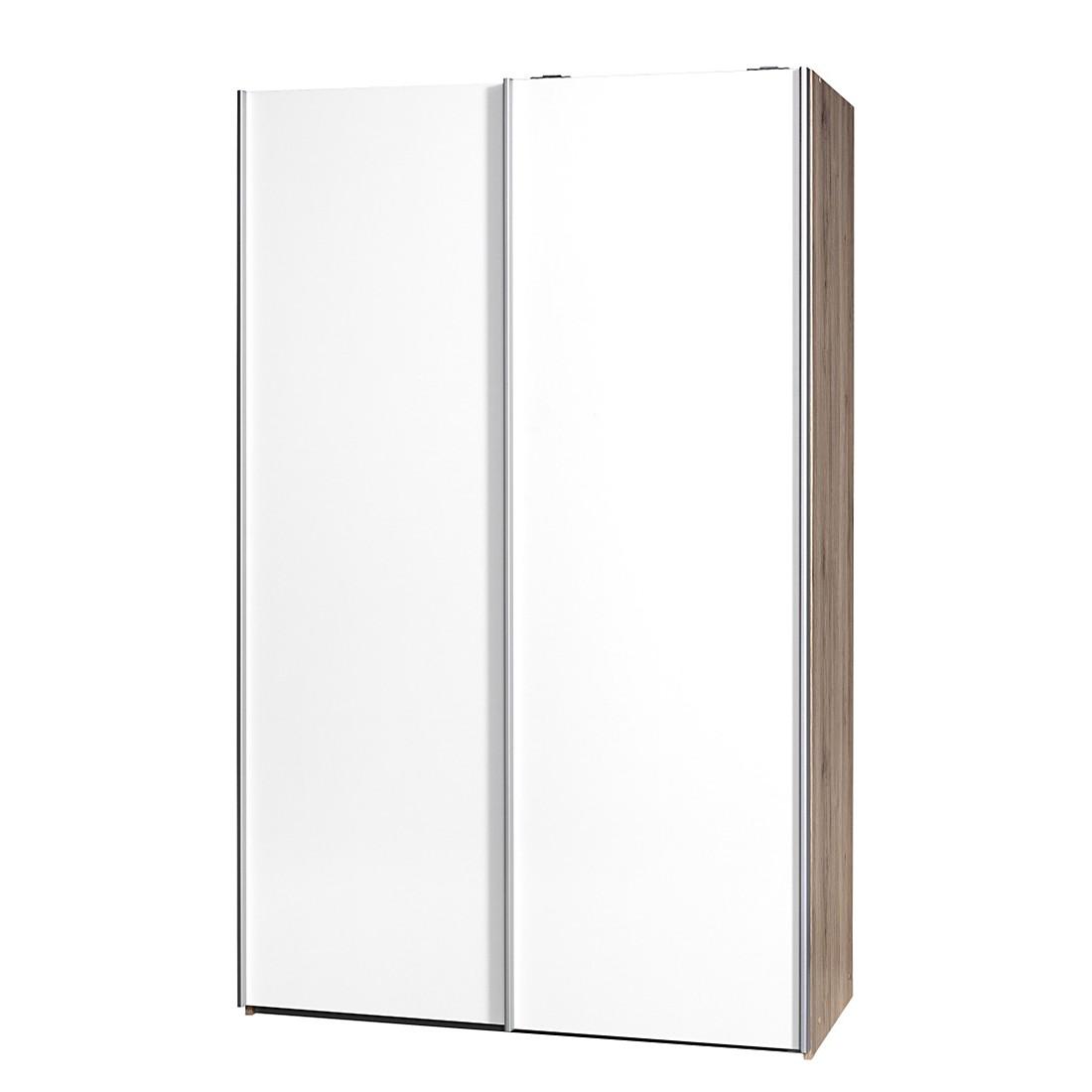 Schwebetürenschrank Soft Smart II – Eiche Sanremo Dekor/Weiß – Breite: 120 cm / Tiefe: 61 cm, CS Schmal bestellen