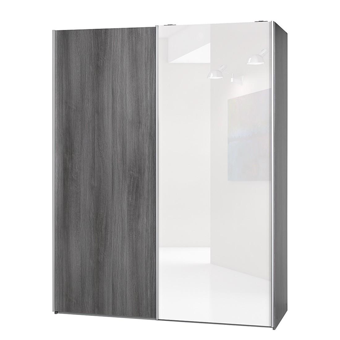 schwebet renschrank soft smart ii silbereiche dekor hochglanz wei breite 150 cm tiefe. Black Bedroom Furniture Sets. Home Design Ideas