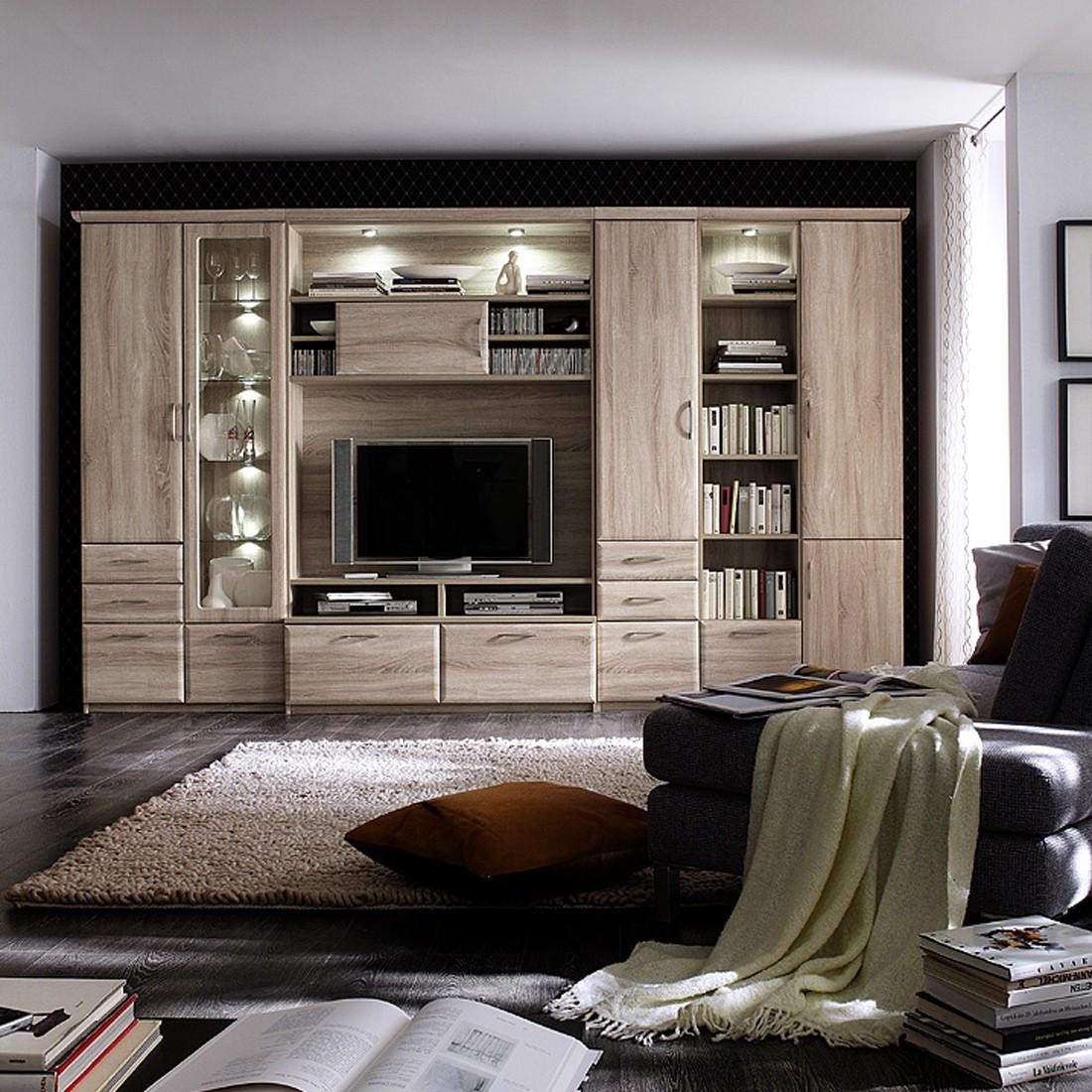 schrankwand brixen sonoma eiche ohne beleuchtung und spiegelr ckwand. Black Bedroom Furniture Sets. Home Design Ideas