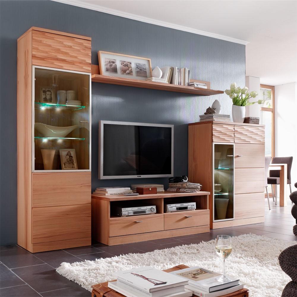schrankwand sun 4 teilig kernbuche teilmassiv. Black Bedroom Furniture Sets. Home Design Ideas