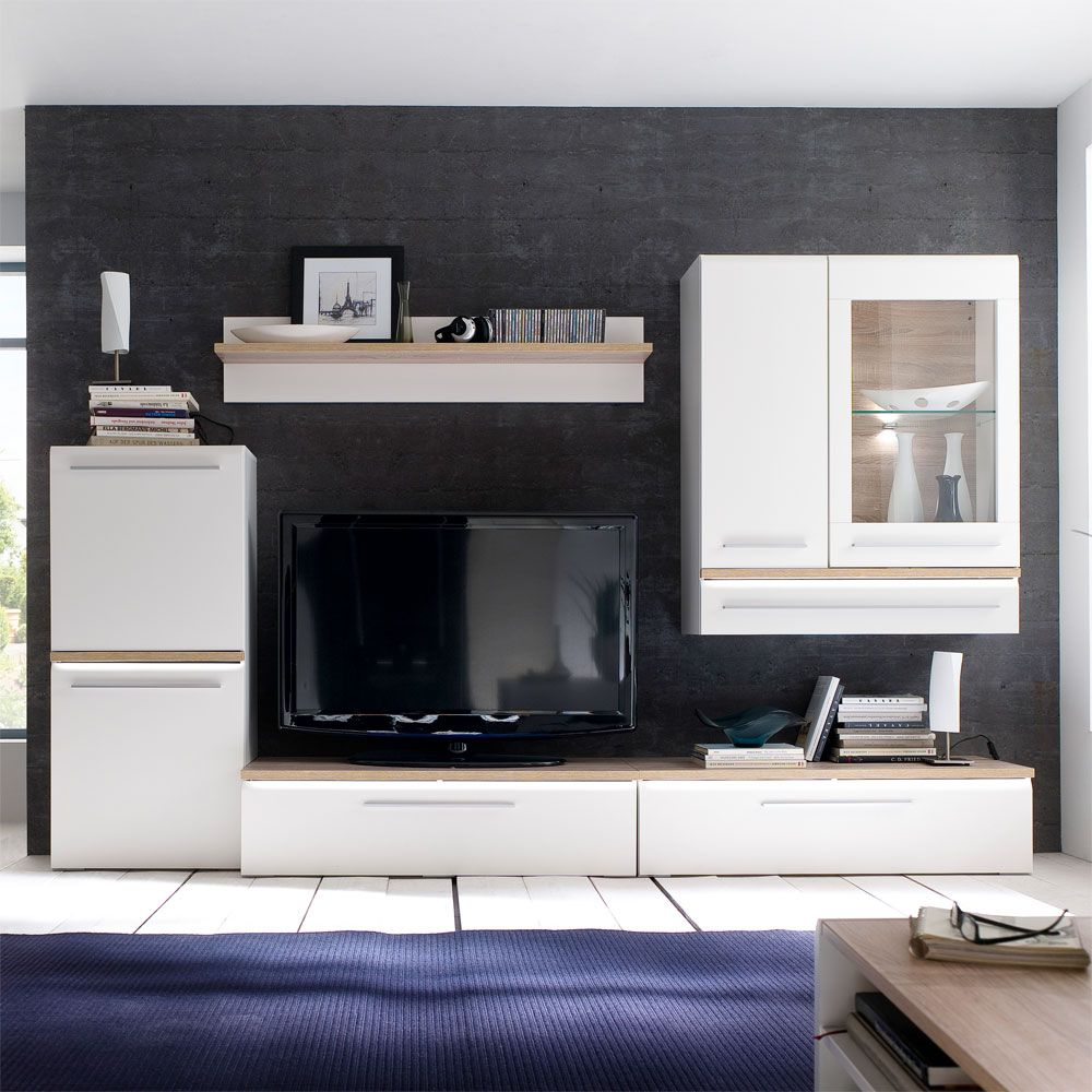 schrankwand taverna 5 teilig wei eiche dekor mdf. Black Bedroom Furniture Sets. Home Design Ideas