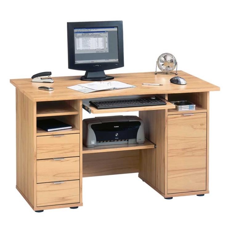 Schreibtisch barahamo kernbuche dekor spanplatte for Schreibtisch kernbuche