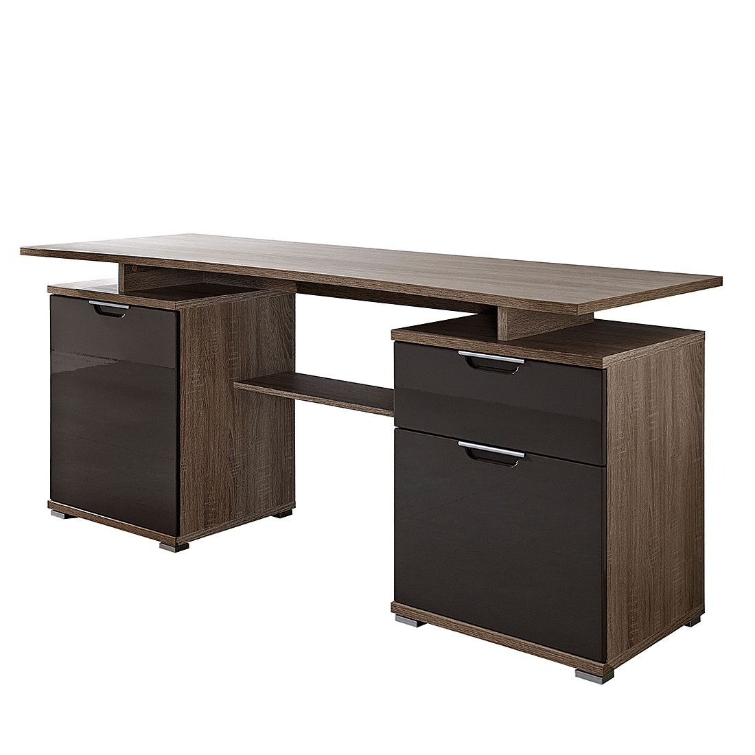schreibtisch ludwig eiche dunkel graphit home24office g nstig online kaufen. Black Bedroom Furniture Sets. Home Design Ideas
