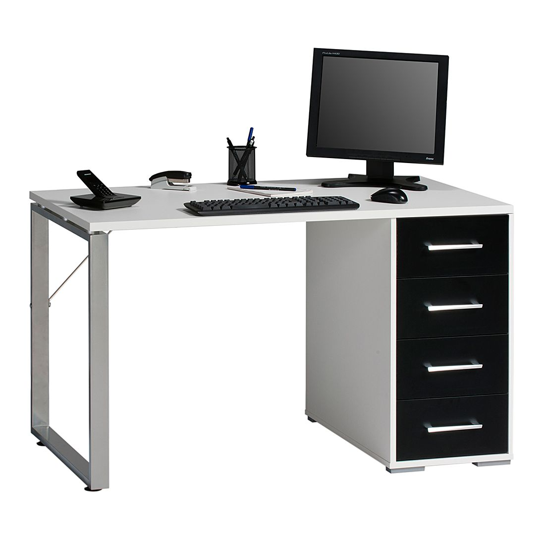 Bureau pegasus met 2 lades wit home24 office aanbieding for Home24 office