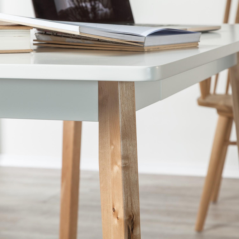 Schreibtisch raven birke massiv wei b rotisch for Schreibtisch birke