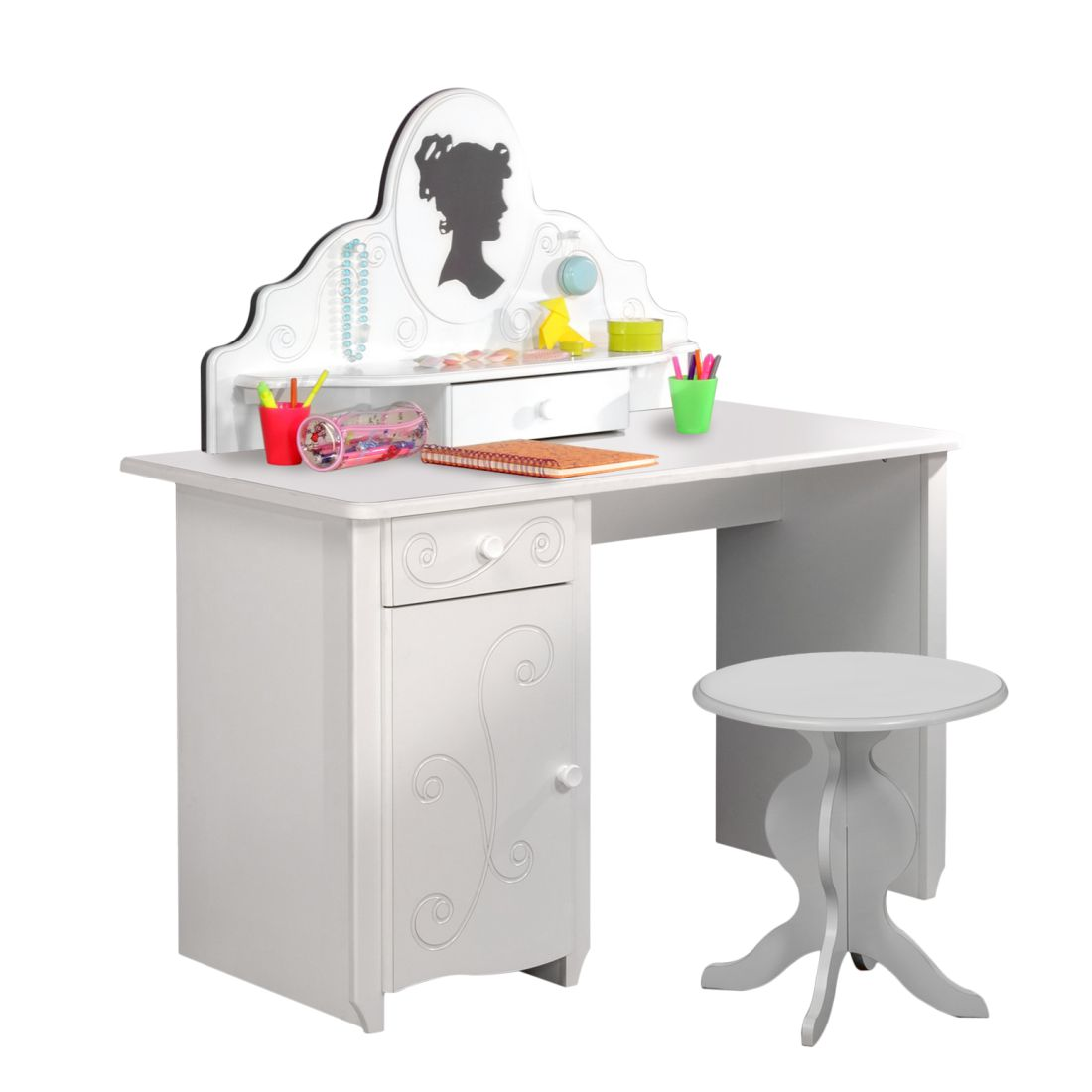 Schreibtischset Alice (3-teilig) – Weiß lackiert – Schreibtisch, Schreibtischaufsatz und Hocker, Parisot Meubles günstig online kaufen