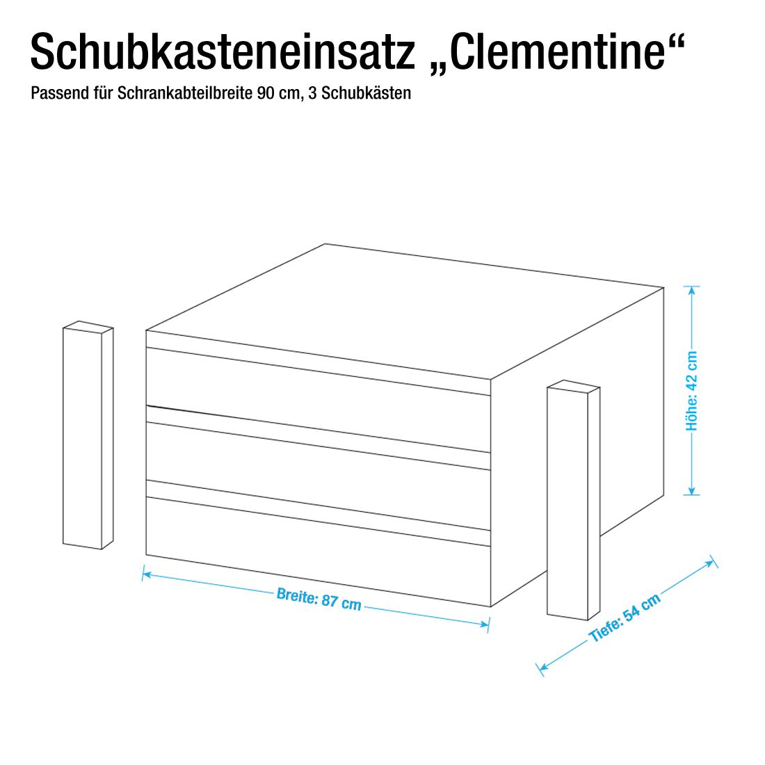 90er schubkasteneinsatz schubkasteneinsatz clementine f r fach 90cm breit. Black Bedroom Furniture Sets. Home Design Ideas