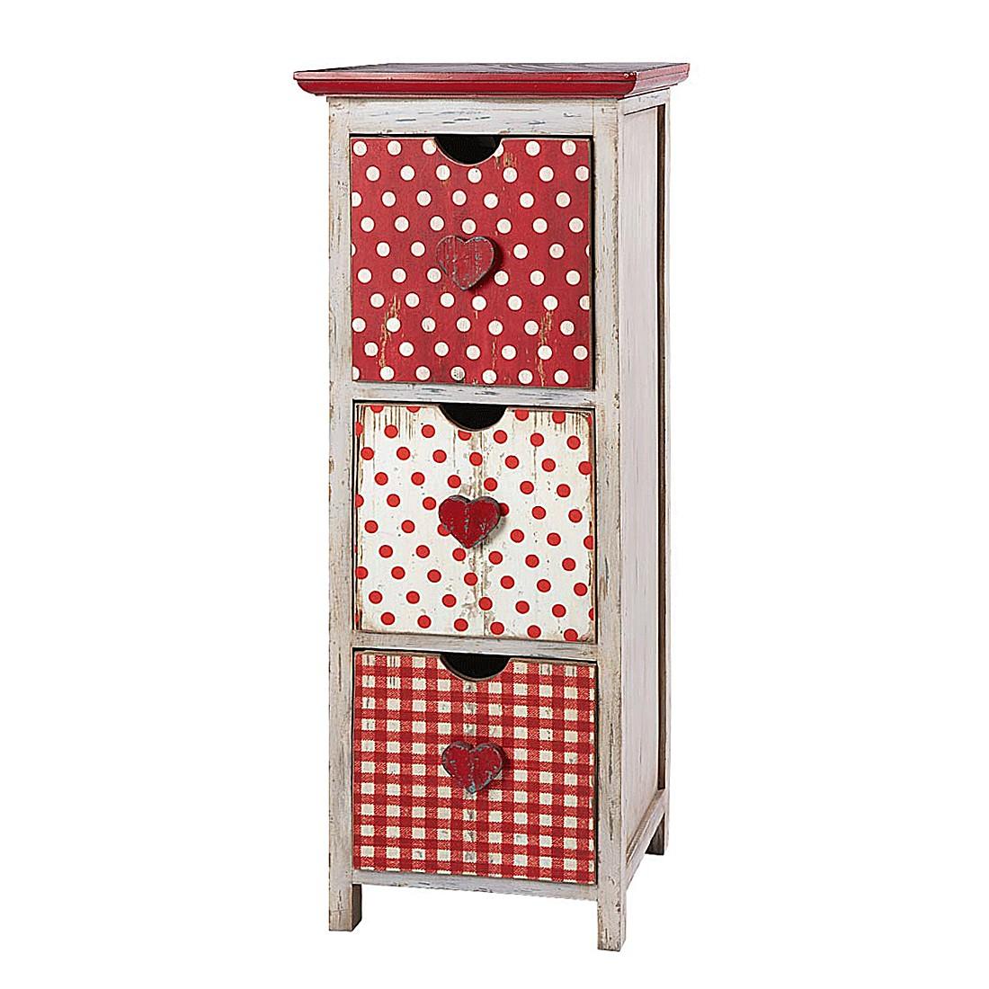 Schubladenschrank Sweet Heart - Holz - Altweiß/Rot
