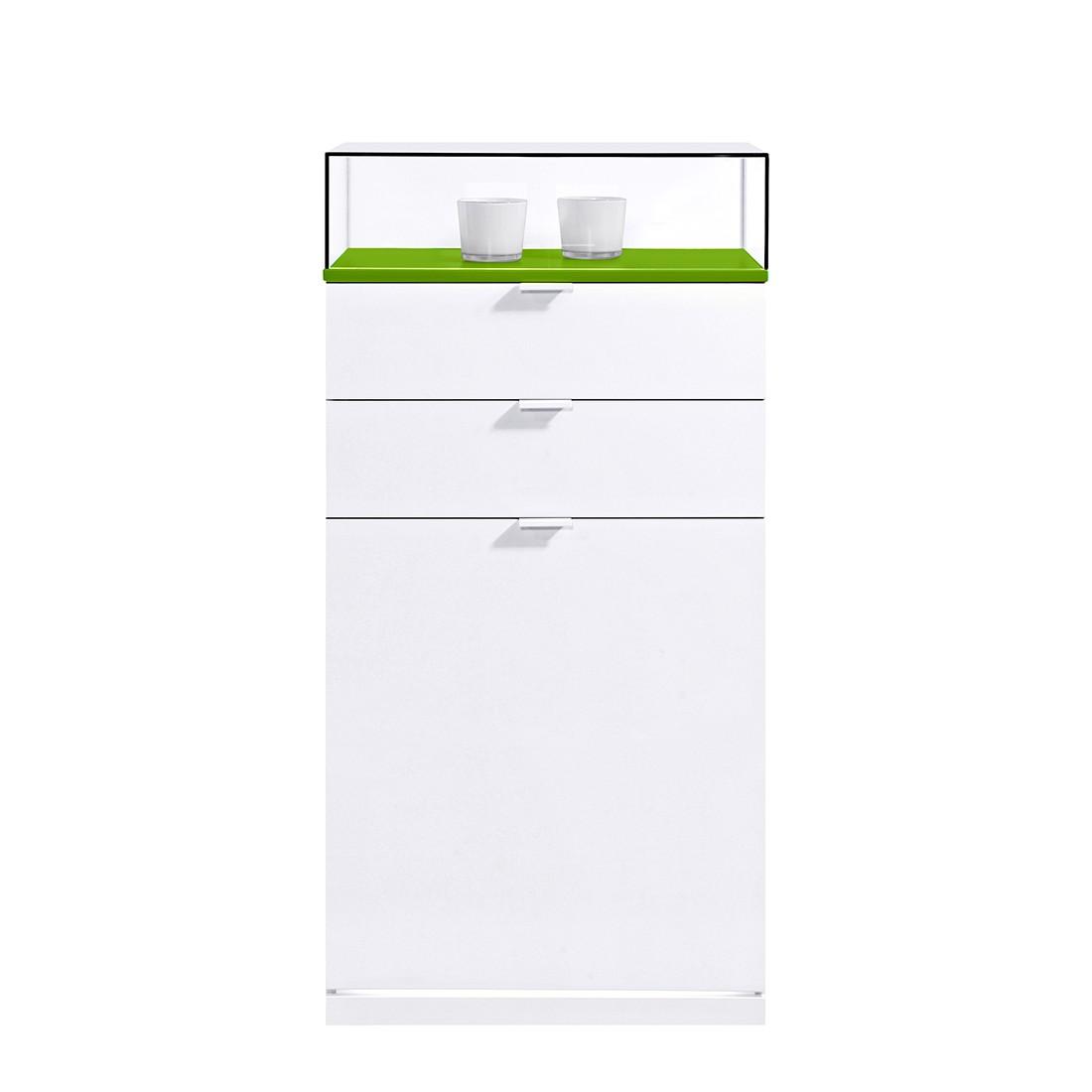 Schuhkommode VIP II - Weiß/Grün (Mit LED-Beleuchtung und Glasaufsatz)