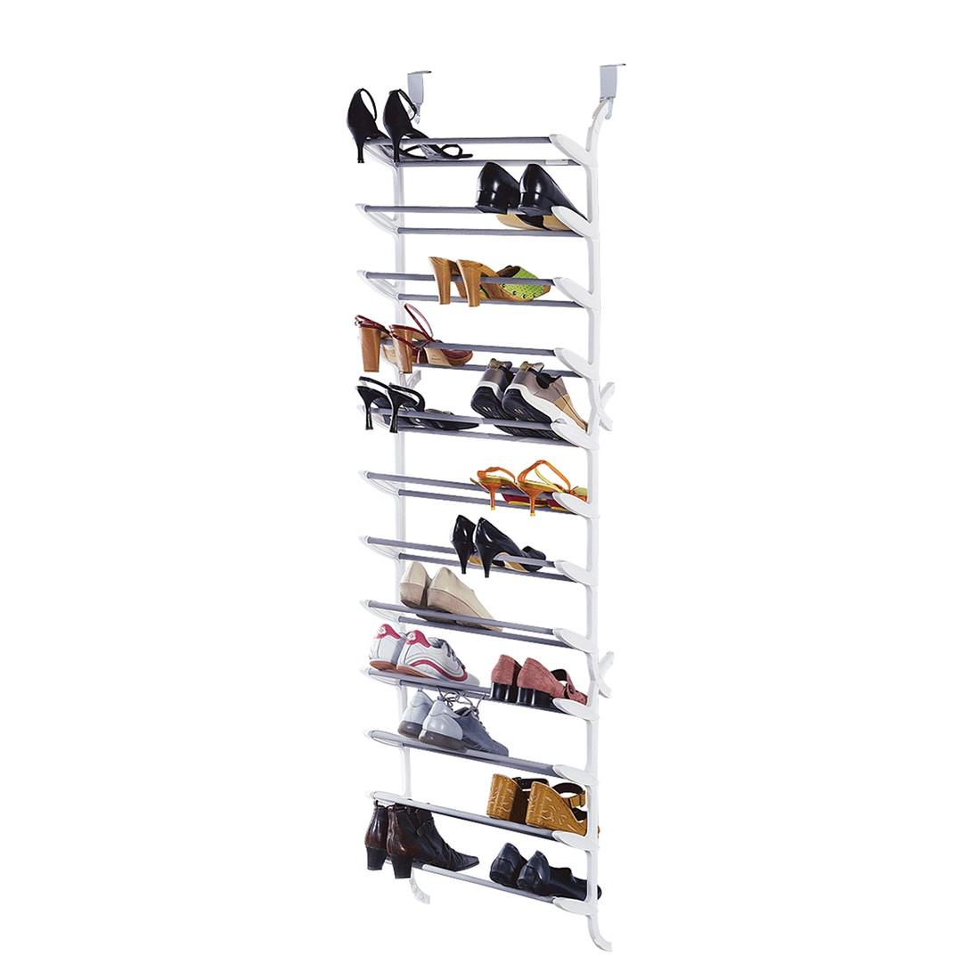 Schuhregal für die Tür – Kunststoff/Metall – Weiß, PureDay günstig online kaufen