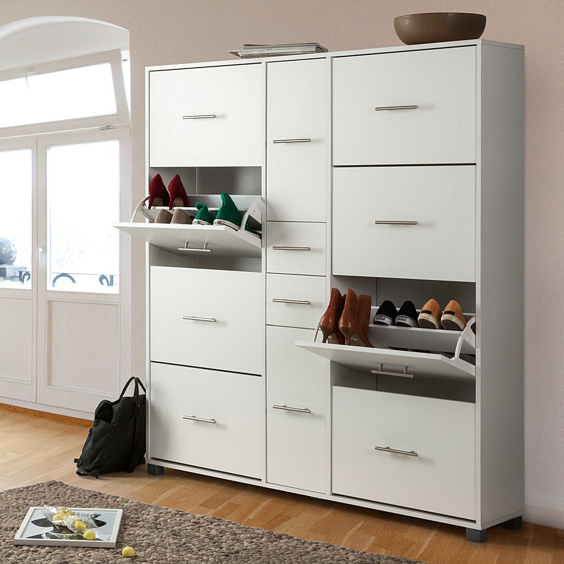 schuhschrank adrianna iii wei schuhkommode schuhkipper schuh kommode kipper ebay. Black Bedroom Furniture Sets. Home Design Ideas