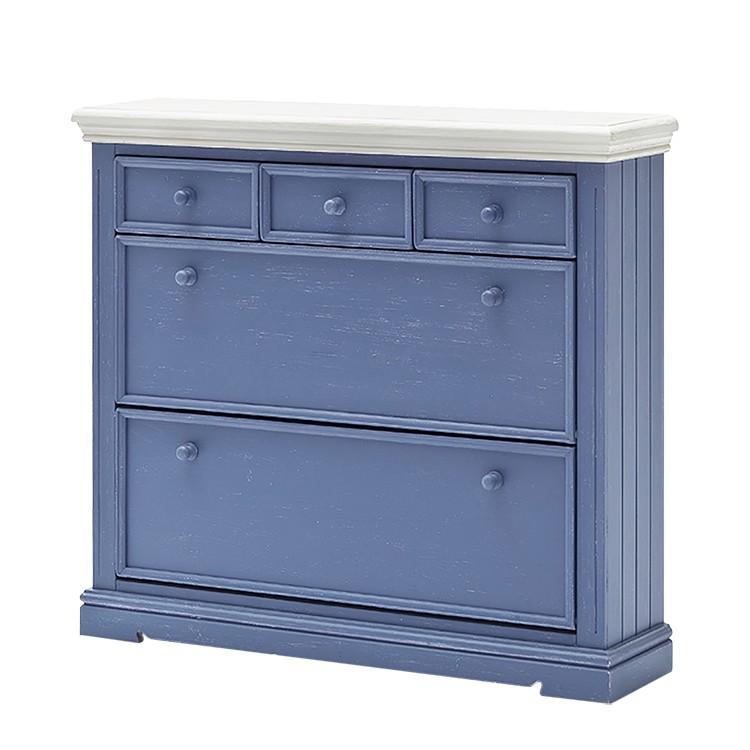 Schuhschrank Felo II – Kiefer teilmassiv – Blau/Weiß, Landhaus Classic günstig bestellen
