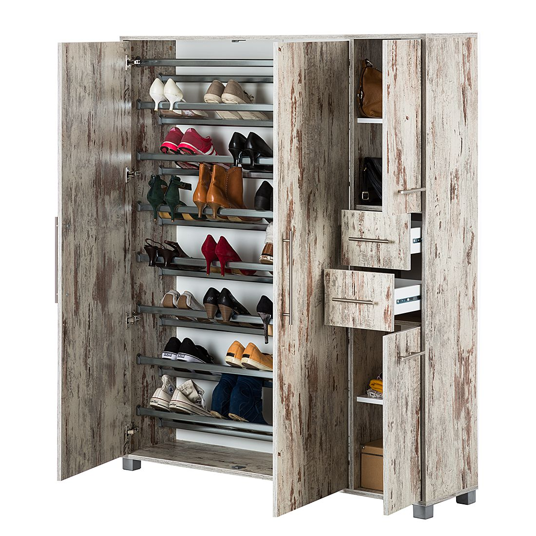 schuhschrank goliath eiche antik dekor schuhkommode schuhkipper schrank kipper ebay. Black Bedroom Furniture Sets. Home Design Ideas