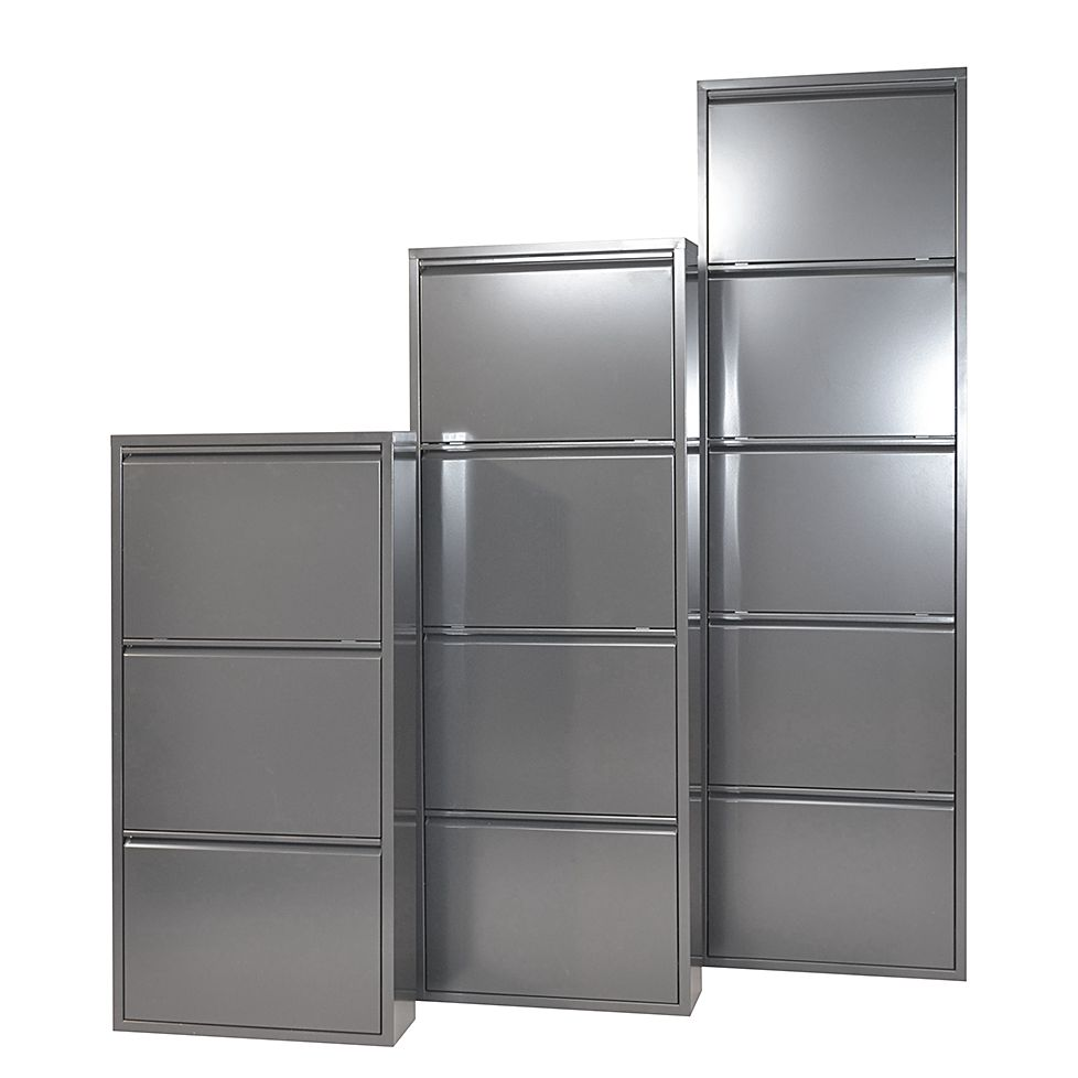 Schuhschrank Akestor - Metall - Anthrazit (Mit 3 Klappen - Höhe: 103 cm )