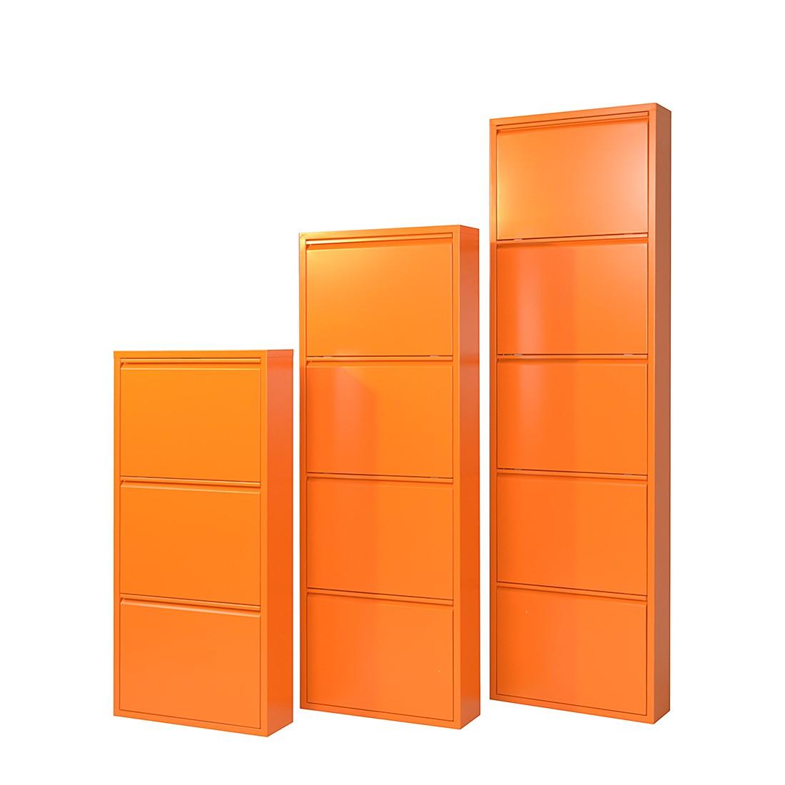 Schuhschrank Akestor - Metall - Orange (Mit 3 Klappen H103 cm )