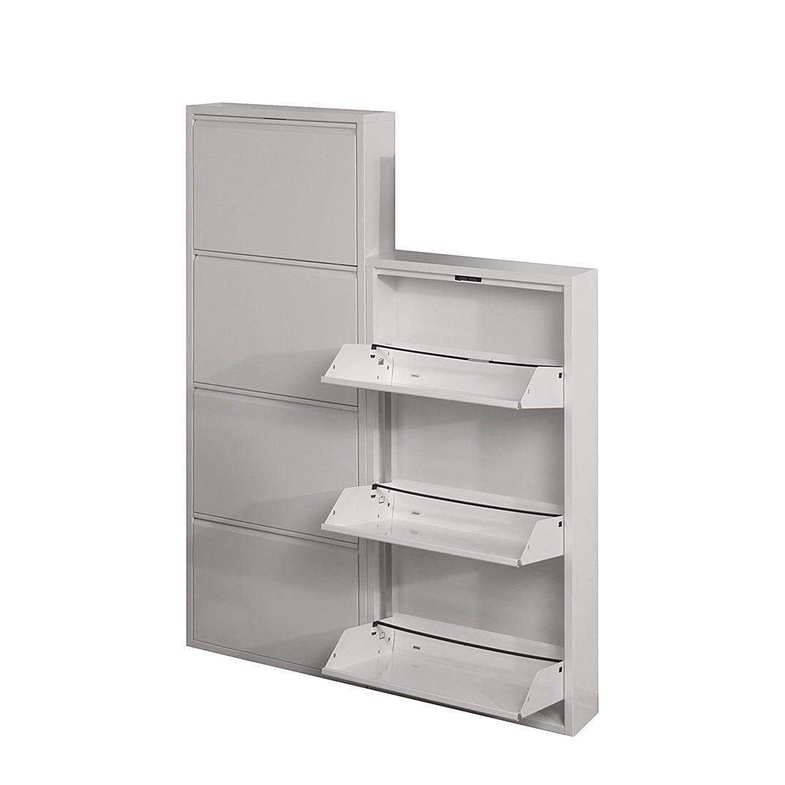 Schuhschrank Akestor - Metall - Weiß (Mit 5 Klappen - Höhe: 169 cm ...