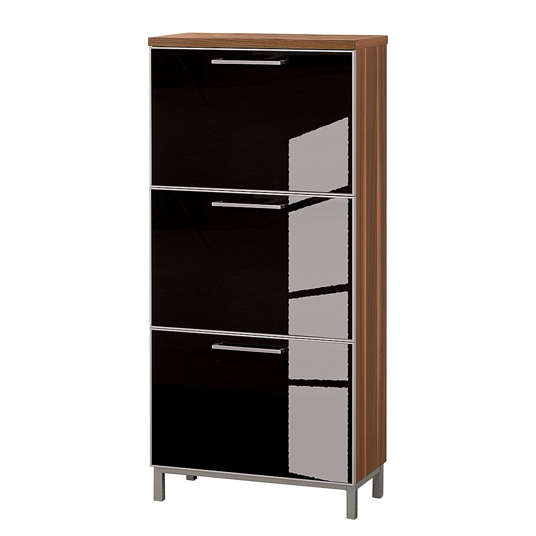 schuhschrank alves iv nussbaum glas anthrazit tiefe 20 cm f r. Black Bedroom Furniture Sets. Home Design Ideas