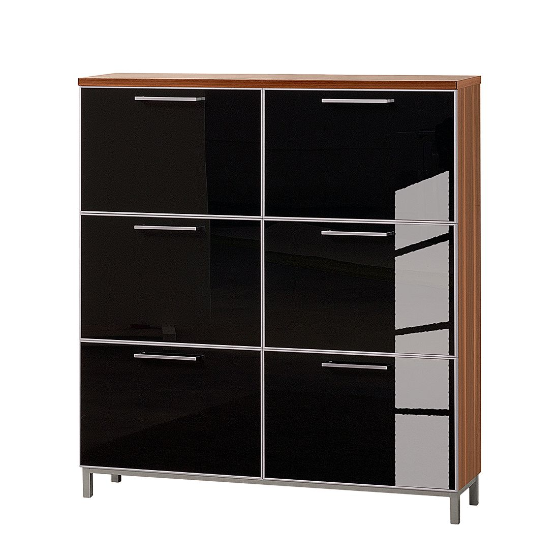 schuhschrank alves vi nussbaum glas anthrazit tiefe 20 cm f r. Black Bedroom Furniture Sets. Home Design Ideas