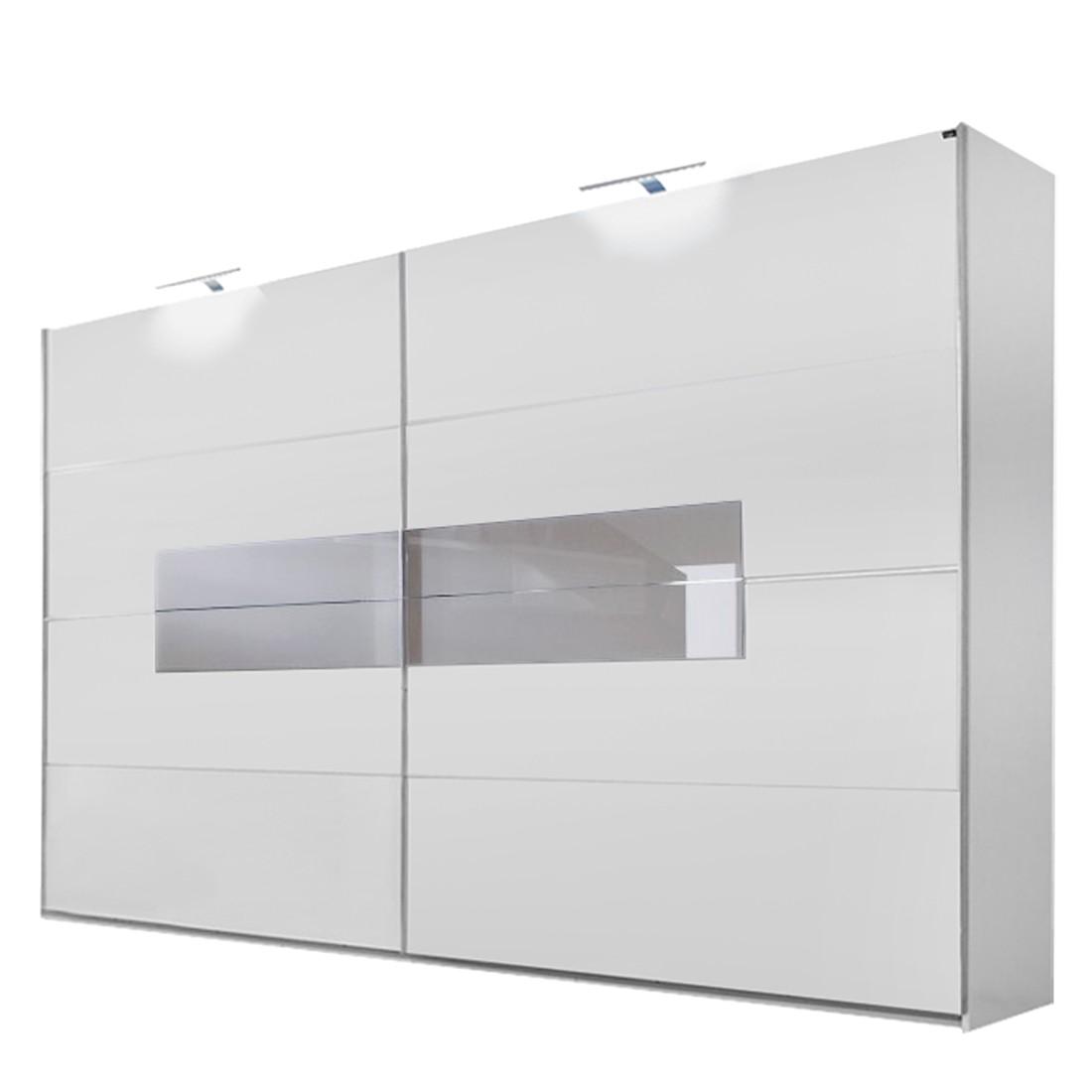 Schwebetürenschrank Advantage – Alpinweiß/SandGrau/Glas Sahara Grau – Schrankbreite: 200 cm – 2-türig, fresh to go online kaufen