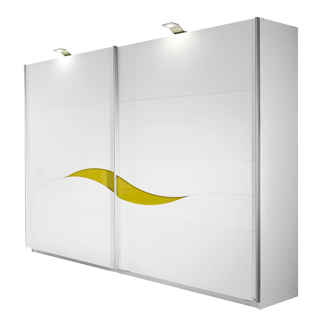 Schwebetürenschrank Onella - Alpinweiß/Glasabsetzung Limette (Schrankbreite: 270 cm)