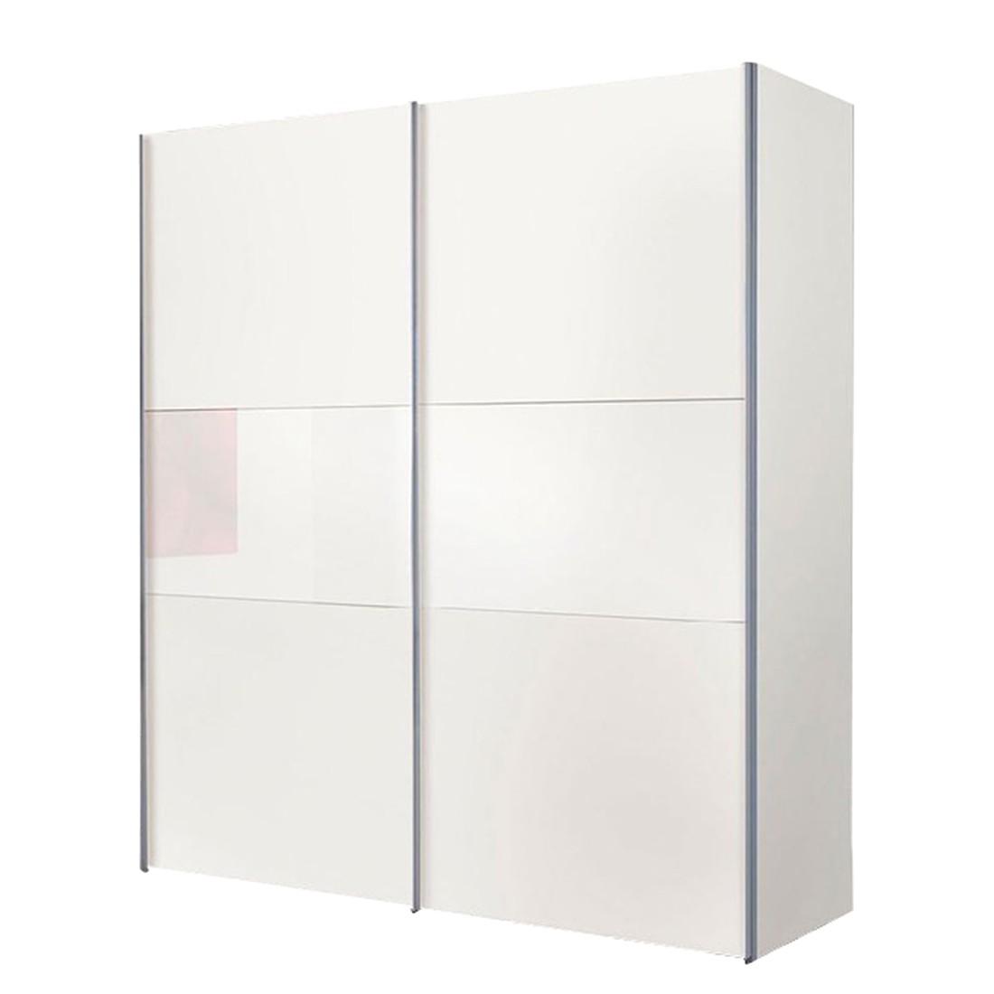 Schwebetürenschrank Austin - Weiß Dekor/Weißglas (Schrankbreite: 250 ...