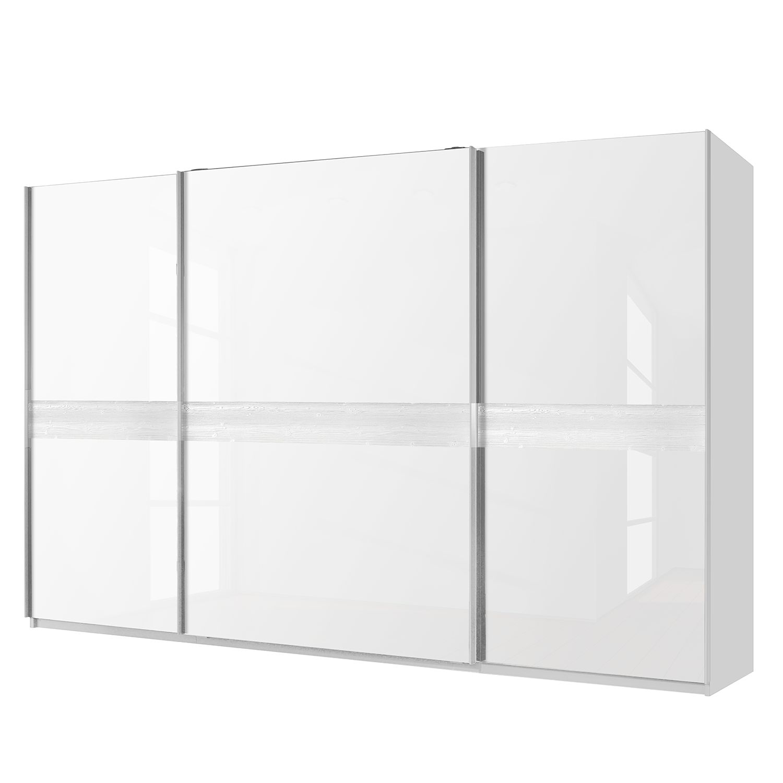 Schwebetürenschrank Bayamo - Alpinweiß/Glas Kristallweiß - 360 cm (3-türig) - 236 cm, Rauch Select