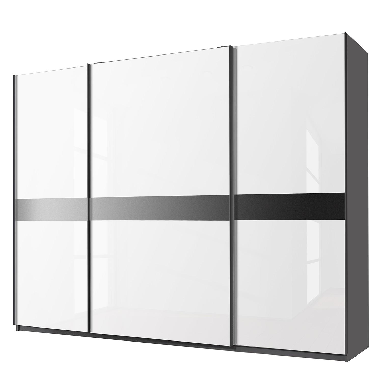 Schwebetürenschrank Bayamo - Graphit/Glas Kristallweiß - 315 cm (3-türig) - 223 cm, Rauch Select