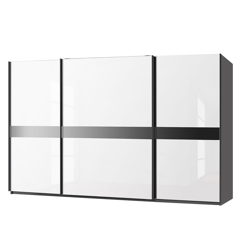 Schwebetürenschrank Bayamo - Graphit/Glas Kristallweiß - 405 cm (3-türig) - 223 cm, Rauch Select