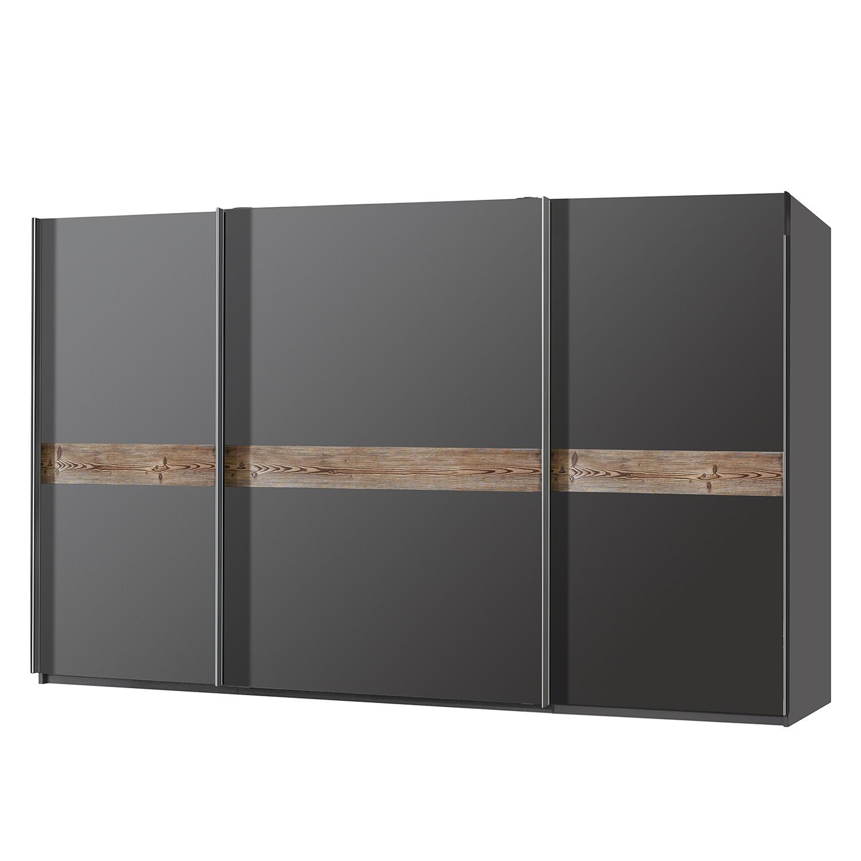 Schwebetürenschrank Bayamo - Graphit/Lärche Natur Dekor - 405 cm (3-türig) - 236 cm, Rauch Select