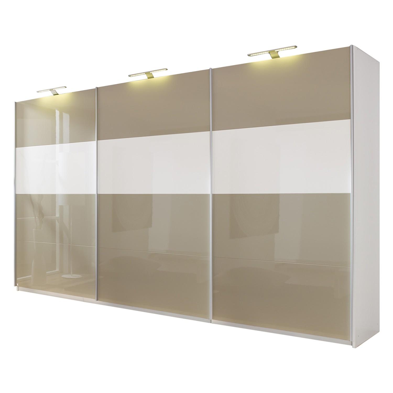 Schwebetürenschrank Beluga-Plus - Hochglanz Sandgrau / Hochglanz Weiß / Alpinweiß - 360 cm (3-türig) - 236 cm, Rauch Select