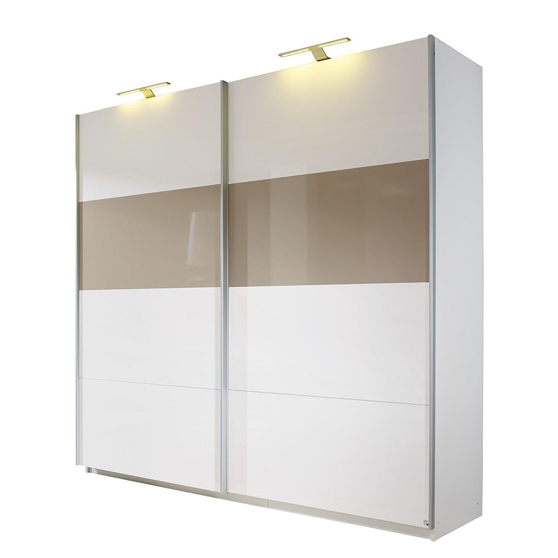 schwebet renschrank beluga plus hochglanz wei hochglanz sandgrau alpinwei 136 cm 2. Black Bedroom Furniture Sets. Home Design Ideas