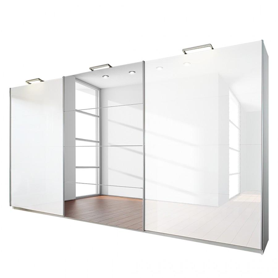 3-deurs schuifdeurkast Beluga Plus - alpinewit/hoogglans wit met spiegel - 360cm (3-deurs) - 223cm, Rauch Select