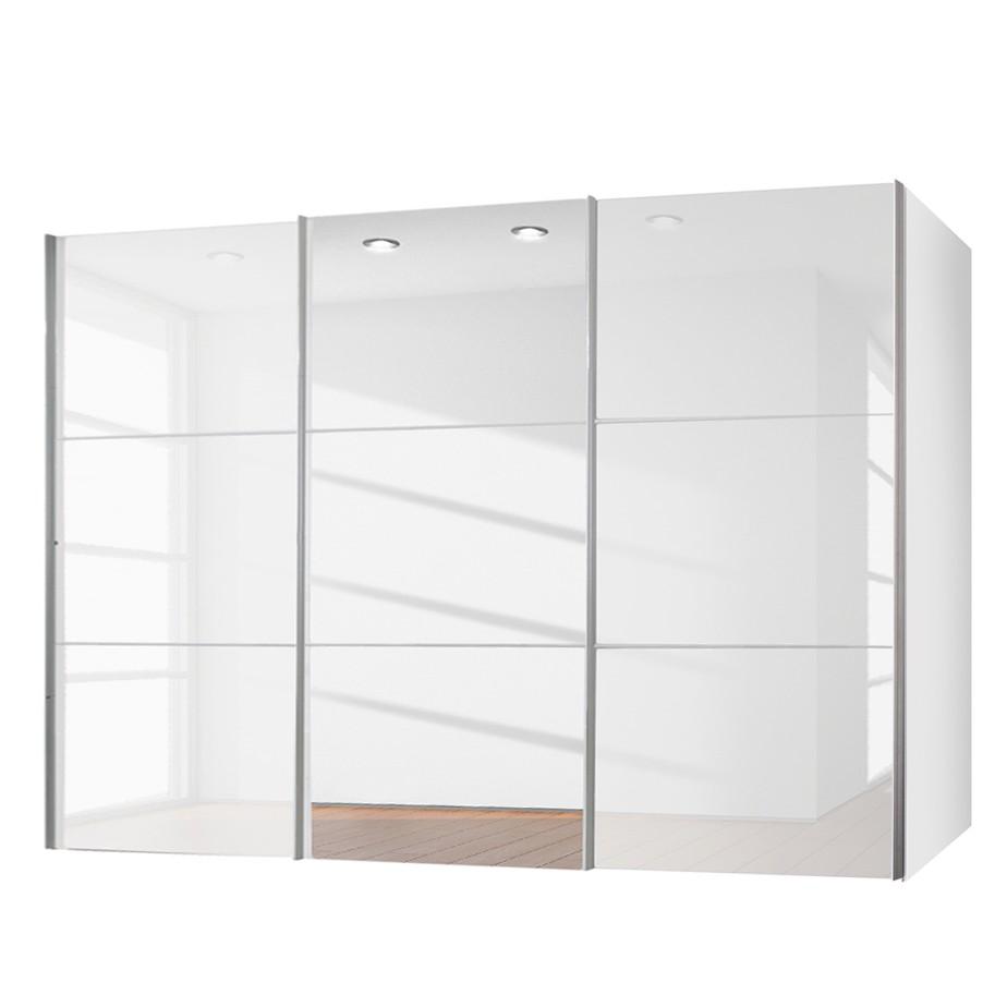 Schwebetürenschrank Zuri Hochglanz Weiß Spiegel 300 Cm 2