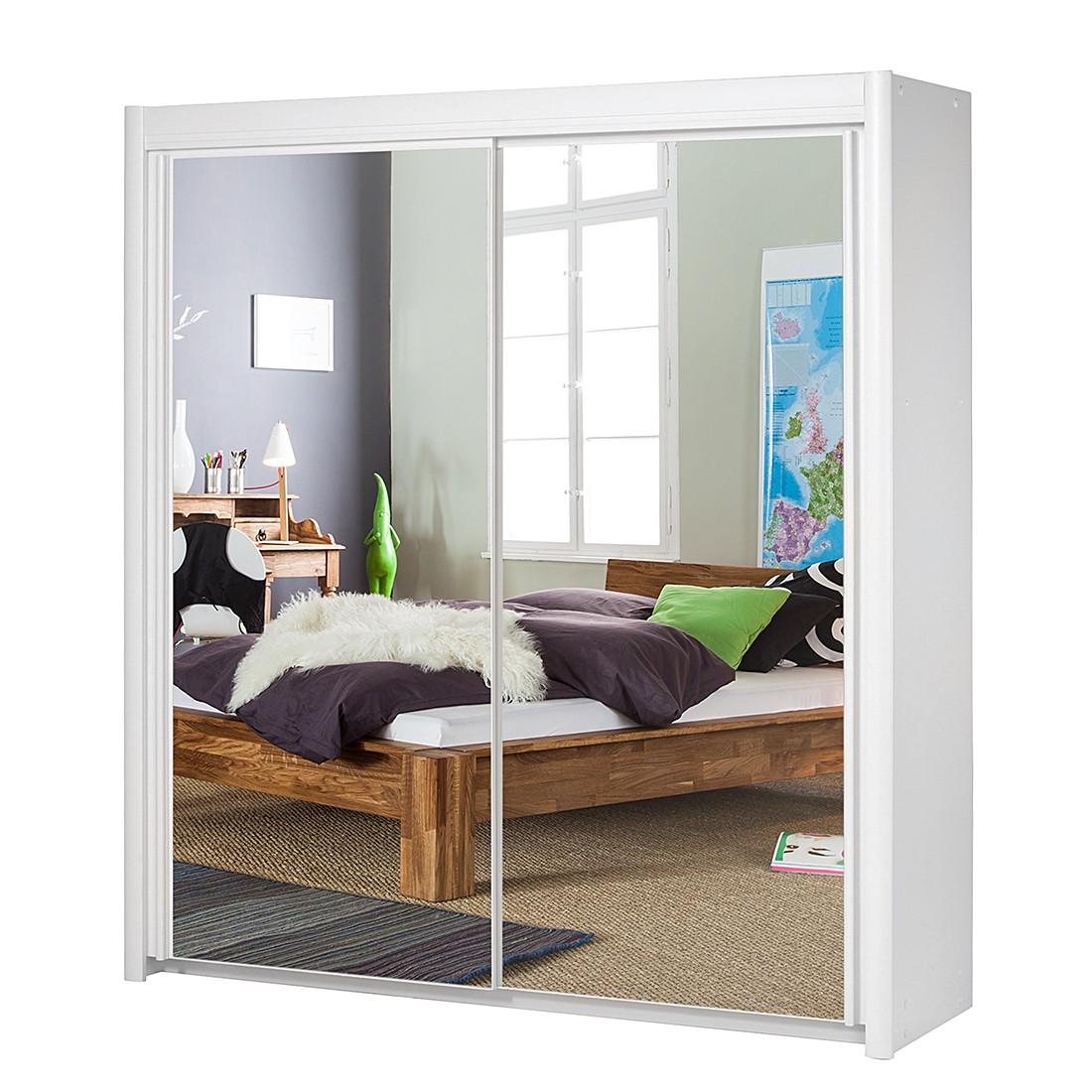 Schwebetürenschrank Carla I (Spiegelfront) – Weiß – Schrankbreite: 156 cm – 2-türig, Parisot Meubles online kaufen