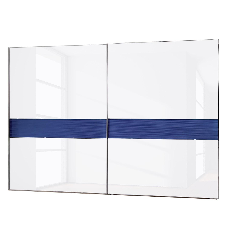 Schwebetürenschrank Colorado - Ohne Beleuchtung - Weiß / Alpinweiß / Petrol - 300 cm (2-türig) - Ohne Passepartoutrahmen, Althoff