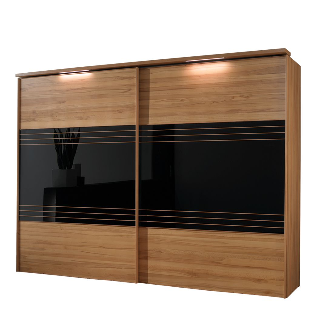schwebet renschrank dexter kernbuche teilmassiv schwarzglas breite 300 cm. Black Bedroom Furniture Sets. Home Design Ideas