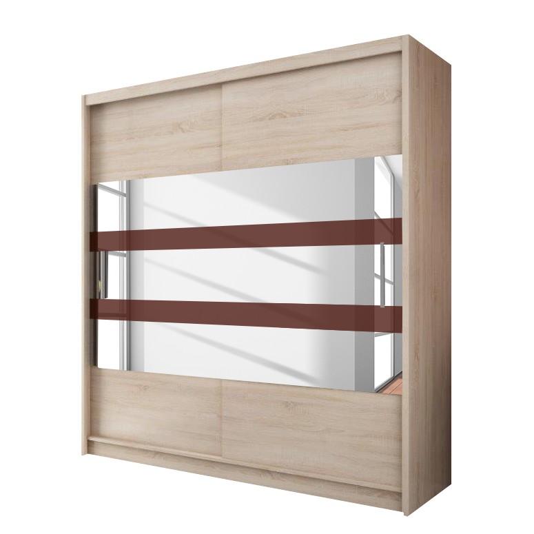Schwebetürenschrank – Eiche Sonoma Dekor/Applikation roter Streifen – 200 cm (2-türig) – 213 cm, Young Furn günstig kaufen
