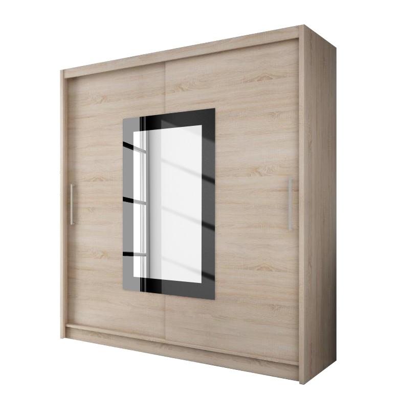 Schwebetürenschrank – Eiche Sonoma Dekor/Spiegel quadratisch – 180 cm (2-türig) – 200 cm, Young Furn online kaufen