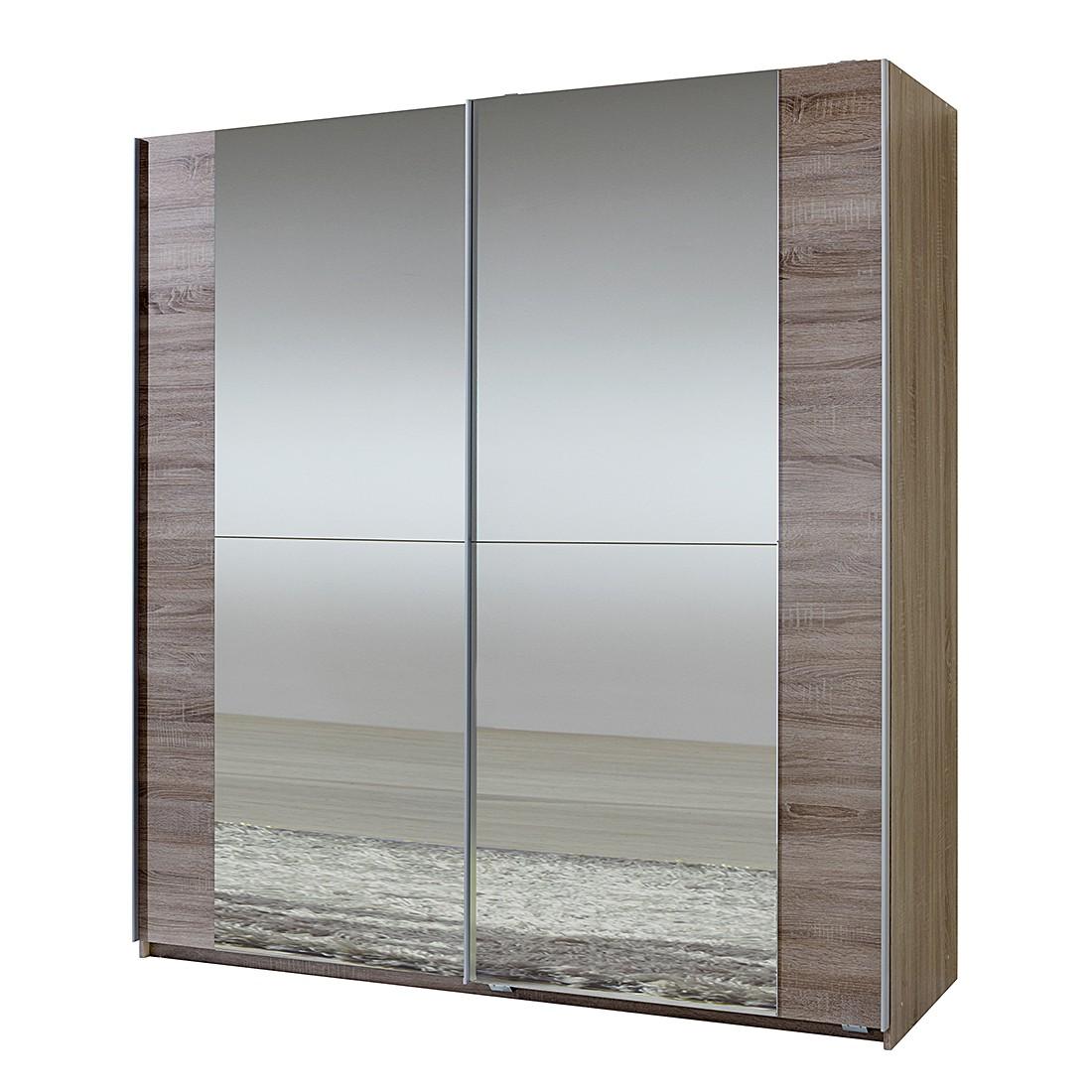 Schwebetürenschrank Fashion Star - Montana Eiche - Spiegelfont (Schrank mit zwei Spiegeln)