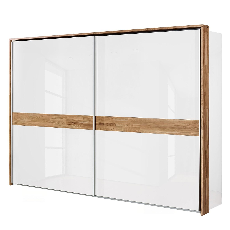 Schwebetürenschrank Feel - Hochglanz Weiß / Eiche - 252 cm (2-türig) - Mit Passepartoutrahmen, Arte M