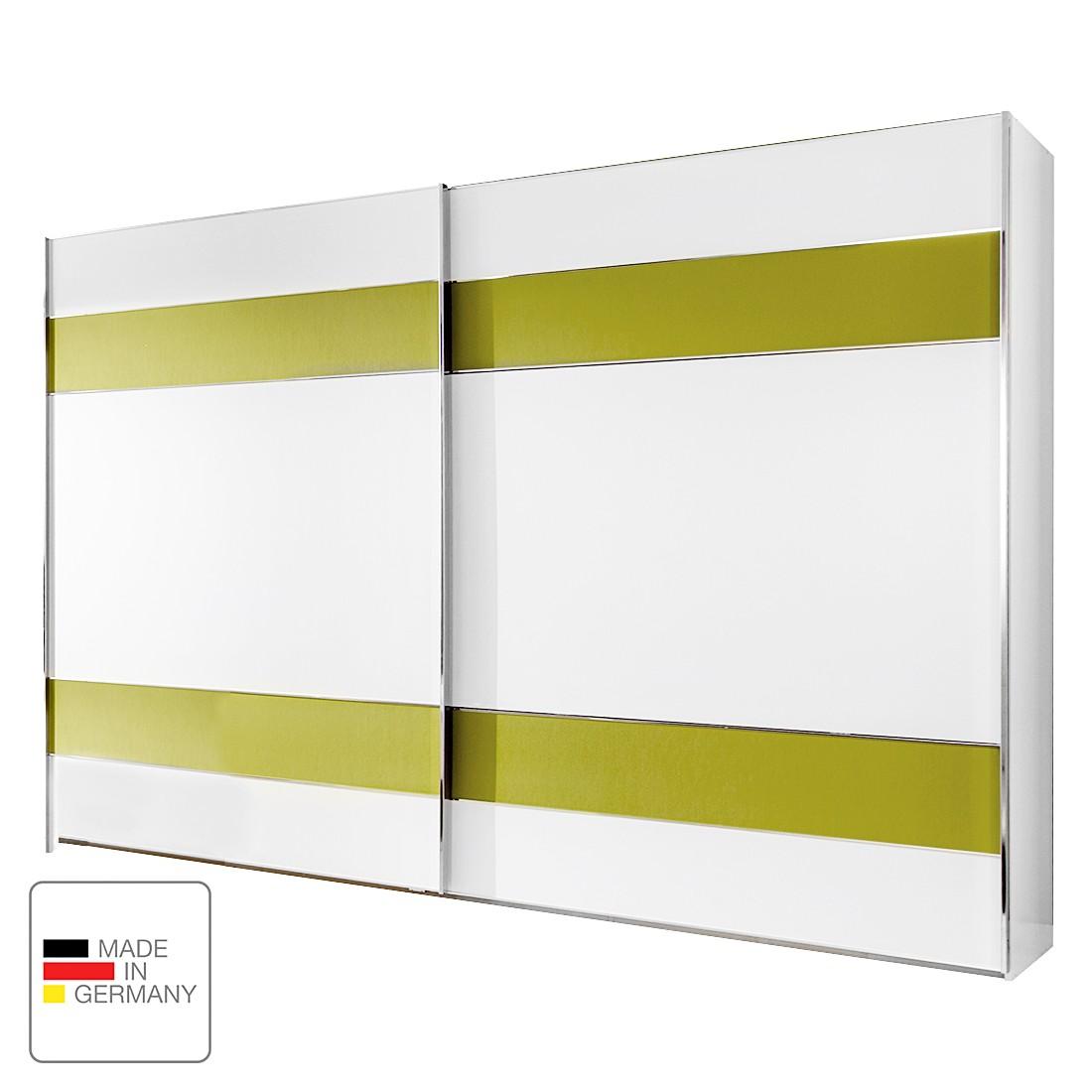 Schwebetürenschrank Jive - Alpinweiß/Kunstleder Limette - Ohne Beleuchtung - 300 cm (3-türig) - Ohne Passepartoutrahmen, Althoff
