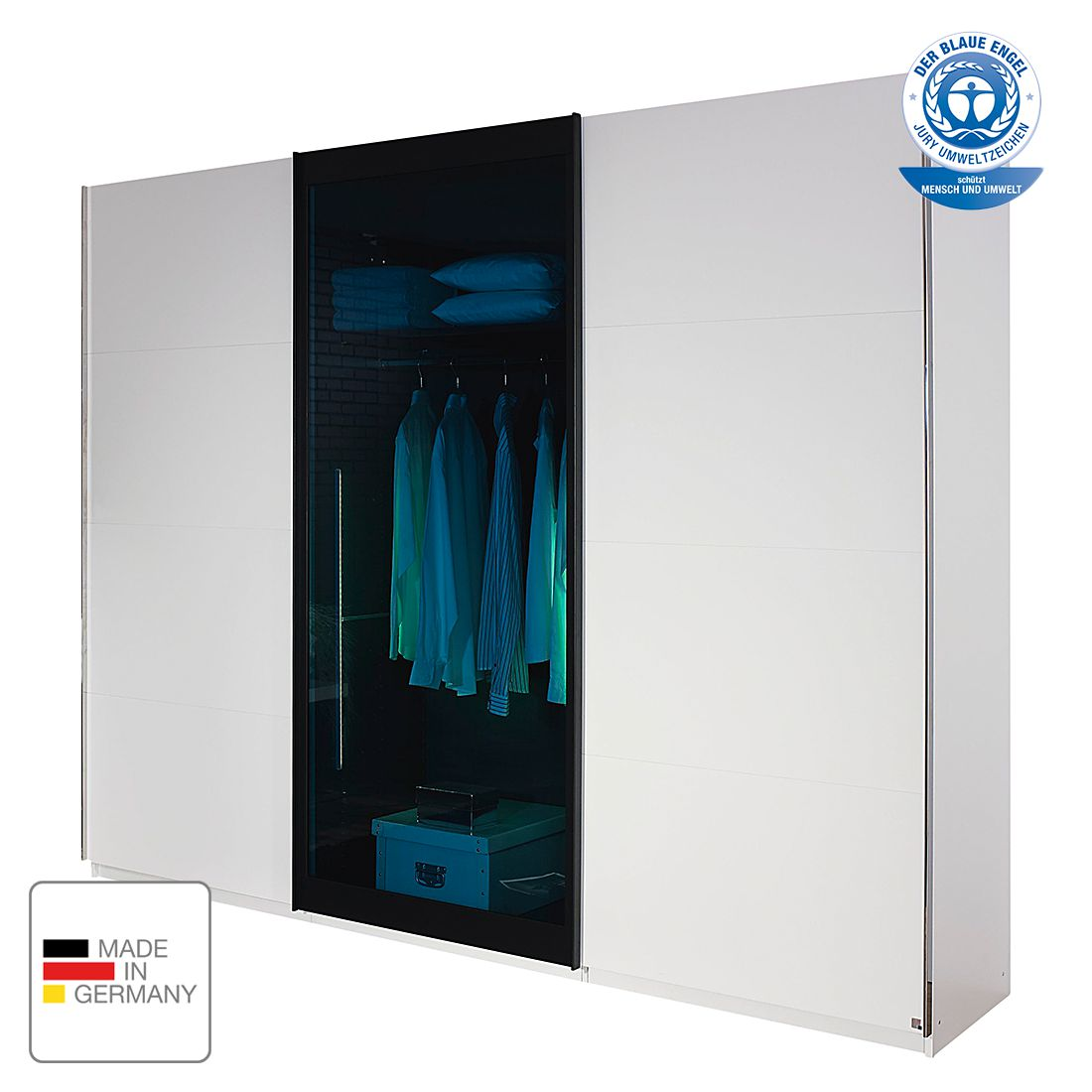 schwebet renschrank lahti alpinwei klarglas petrol 225 cm 3 t rig rauch select online. Black Bedroom Furniture Sets. Home Design Ideas