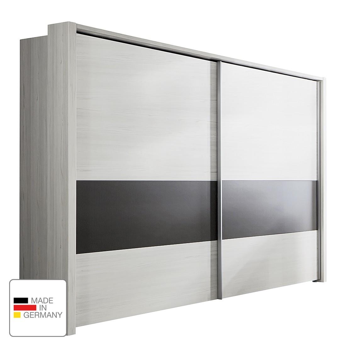 Schwebetürenschrank Lissabon - Polar Lärche Dekor/Havanna - 300 cm (2-türig) - Mit Passepartoutrahmen, Althoff