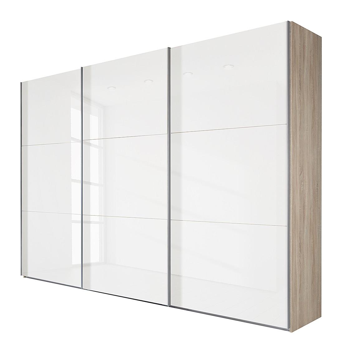 Schwebetürenschrank MatchUp I – Eiche Sägerau Dekor/Weißglas – Breite x Höhe: 225 x 210 cm – 2-türig, Wimex online kaufen