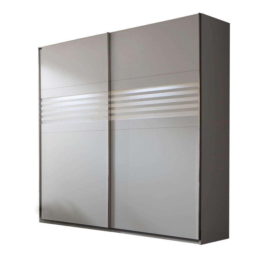 Schwebetürenschrank Mondo - Weiß/Milchglas (Breite: 250 cm ...