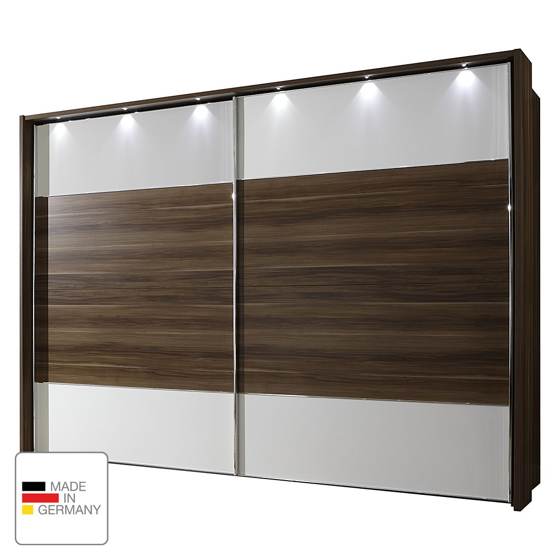 eek a schwebet renschrank monza walnuss dekor alpinwei led beleuchtung 200 cm 2 t rig. Black Bedroom Furniture Sets. Home Design Ideas