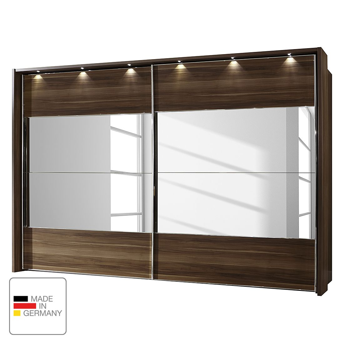 schwebet renschrank monza walnuss dekor led beleuchtung 250 cm 3 t rig 216 cm mit. Black Bedroom Furniture Sets. Home Design Ideas